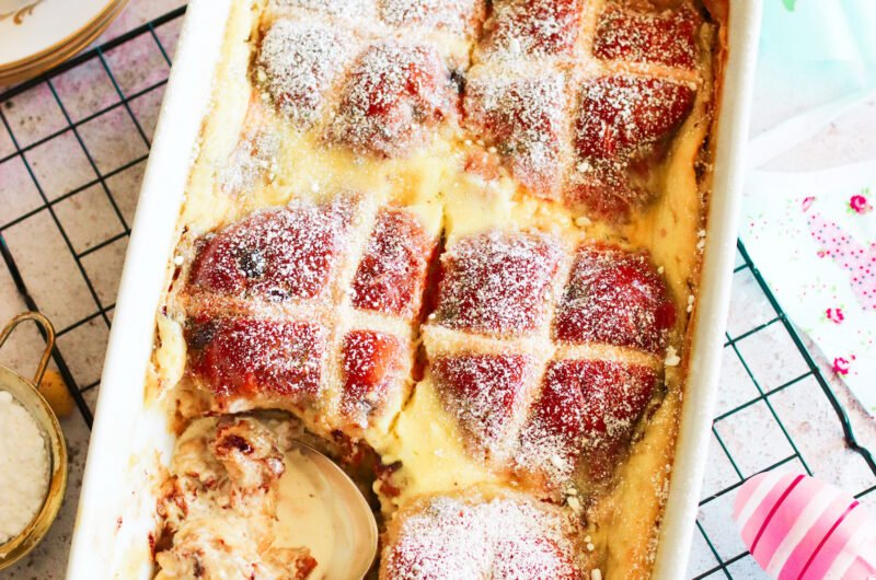 Chocolatey Hot Cross Bread and Butter Pudding with Kahlua and Brandy