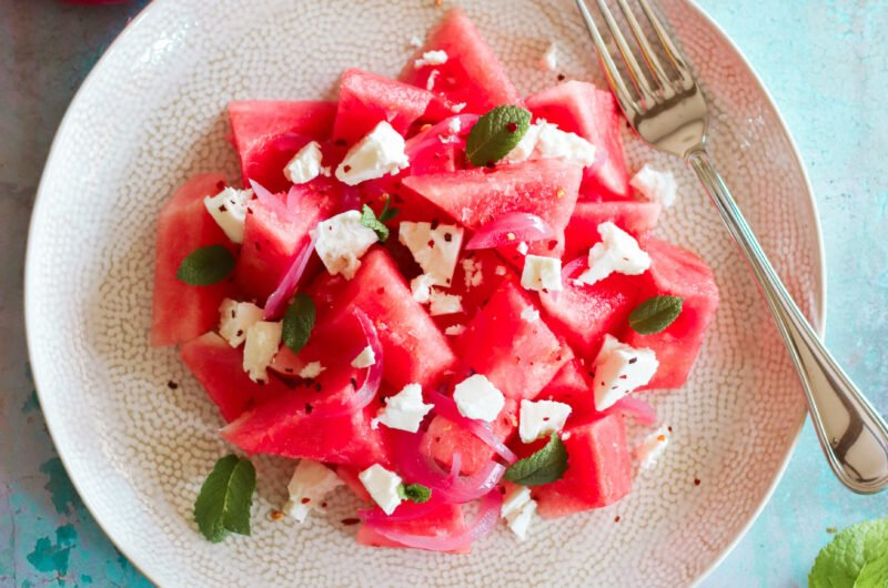 Watermelon, Pink Pickled Onion and Feta Salad